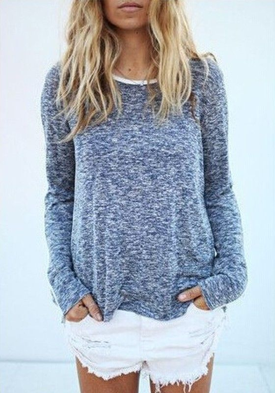 Grey Plain Round Neck Long Sleeve Loose Pullover