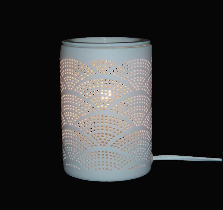 White Ceramic Shell Pattern Electric Oil Burner Lamp  FREE wax & globe