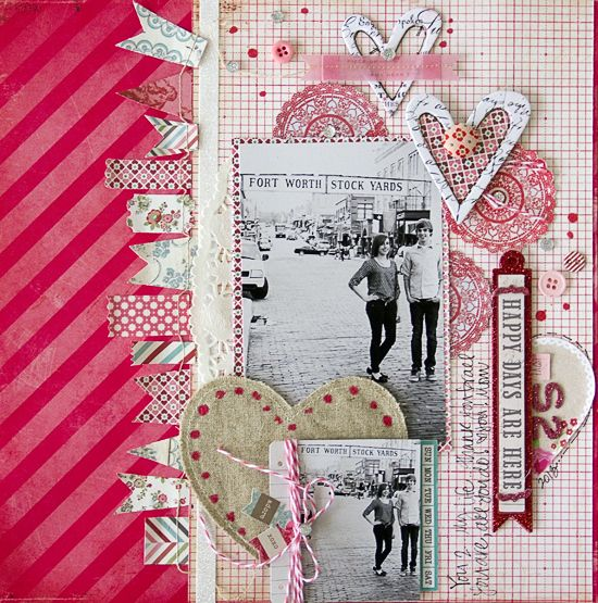 #papercraft #scrapbook #layout Happy Days, By Leslie Ashe, using the Lasting Love kit.