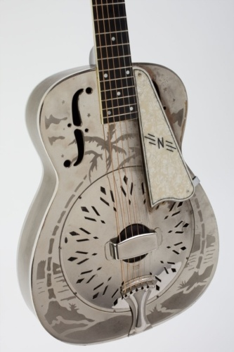 """Vintage 1936 NATIONAL Style 'O'   Single Resonator Guitar • The famed """"Style O"""" became National's most widely known instrument, when guitarist ... Mark Knopfler featured his late '30s Style O ~ on the classic Dire Straits album """"Brothers In Arms"""". Knopfler's legendary '14 fret~Mahogany Neck'   Hawaiian Style guitar was also captured, once more, on the cover of the band's """"Greatest Hits"""" collection."""