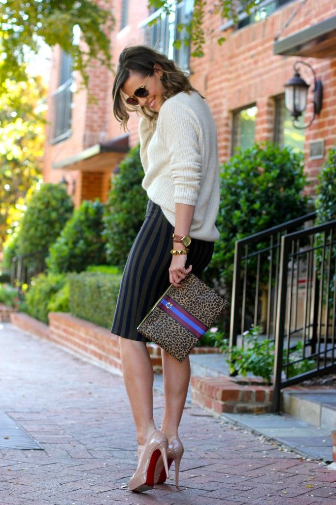 pencil skirt and loose sweater