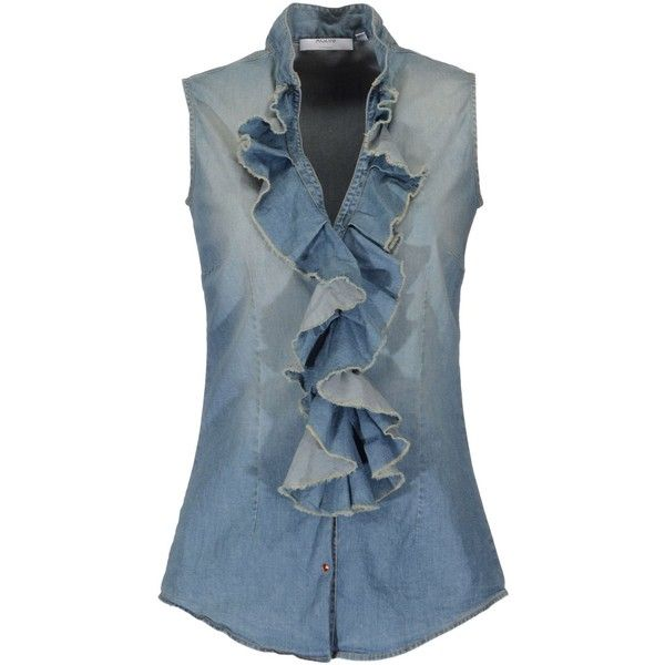 AGLINI Denim shirt ($134) ❤ liked on Polyvore featuring tops, shirts, blue, denim snap button shirt, blue sleeveless top, blue shirt, sleeveless denim shirt e ruched sleeveless top