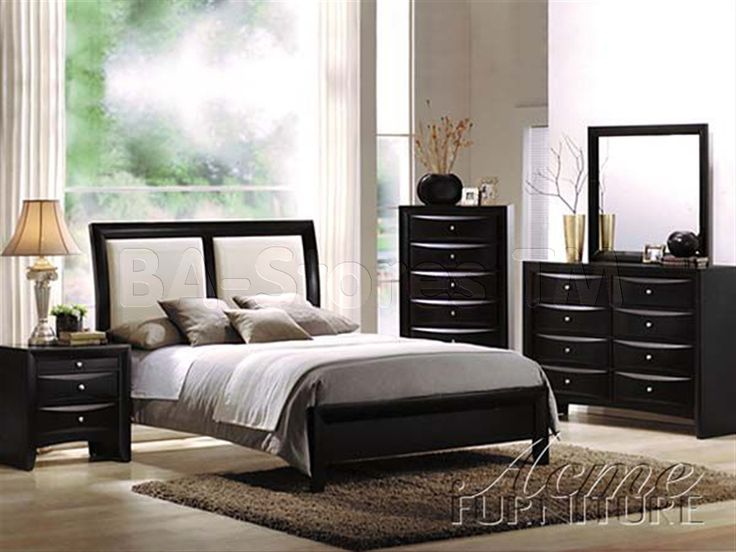 Modern Bedroom Sets Furniture Part - 50: Ireland 5 PC Bedroom Set In Black With White Insert By Acme Furniture