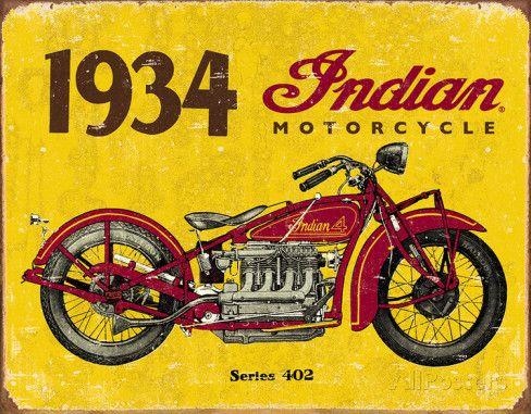1934 Indian Motorcycles Tin Sign Placa de lata