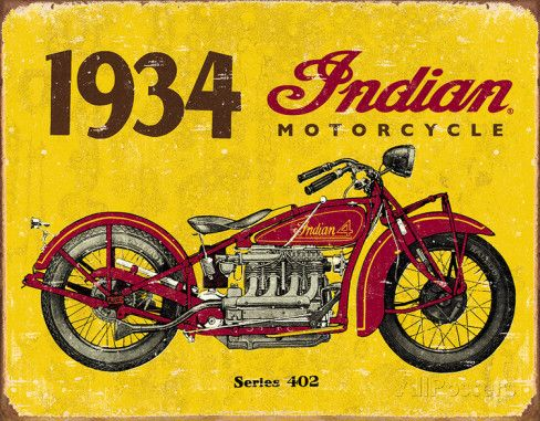 1934 Indian Motorcycles Tin Sign Placa de lata na AllPosters.com.br