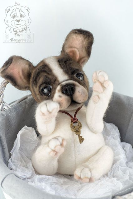 French Bulldog Frenchie Puppy by Ellen Borggreve Soft Sculpture Artist