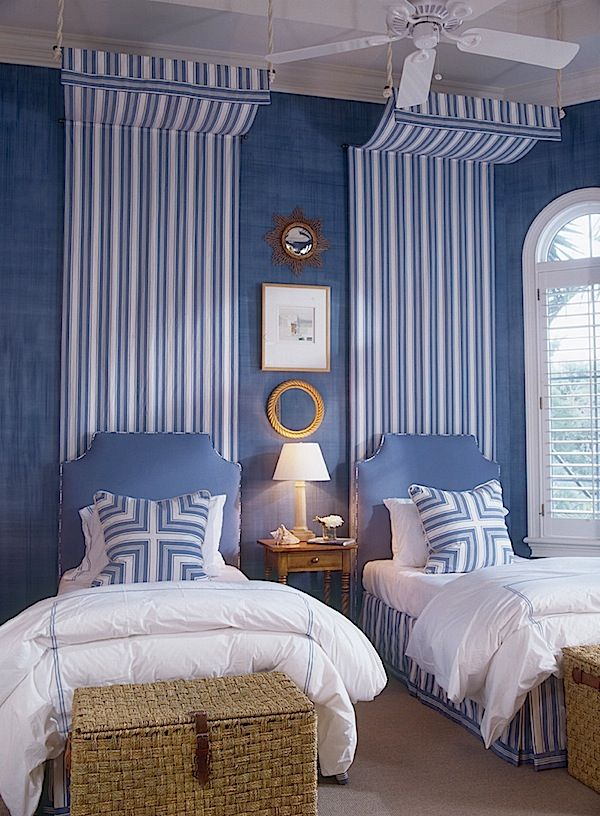 Gary McBournie from his book Living Color via Quintessence...fab stripes...draws eyes up. Great bedroom.