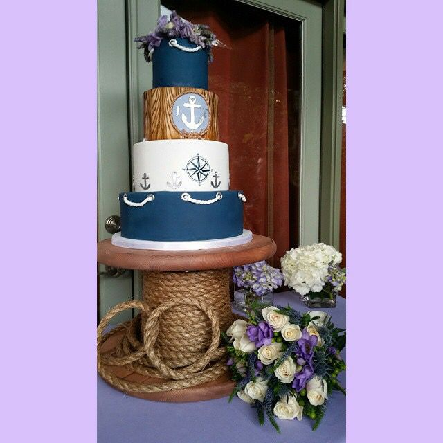 Nautical Wedding Cake - Lemon Lavender Flavor. Cake stand made by Taylor Carpenter.   Cake by CAKEgoodness. Bridal Bouquet by Leslie's Flowers in Chatsworth.#weddingchicks