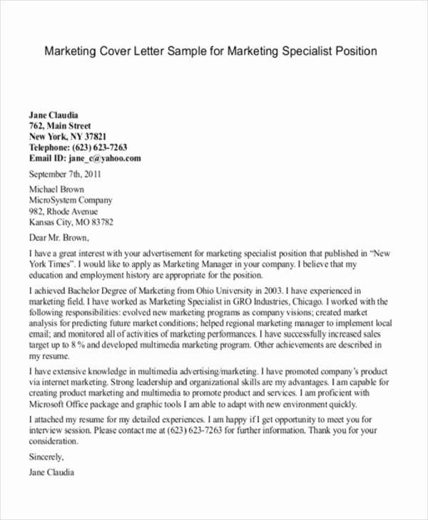 Marketing Cover Letter Sample Inspirational 11 Marketing Cover