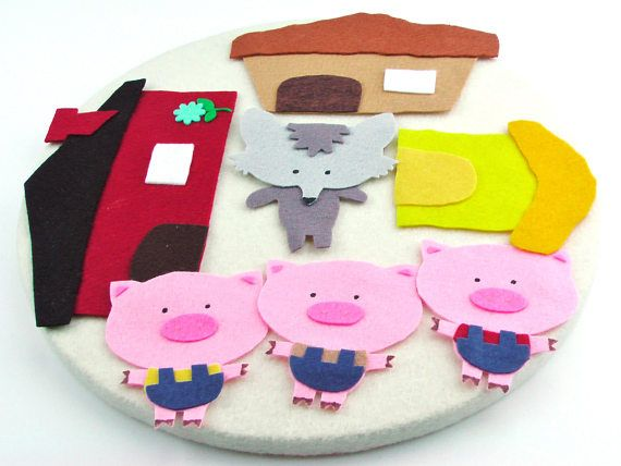 WHAT DO WE HAVE HERE? This Felt Three Little Pigs and the Big Bad Wolf set is made of high quality wool-blend felt. This sweet little set can be used by teachers or librarians, and also by children on my Travel Mat--which can be purchased separately here: https://www.etsy.com/listing/451467402/felt-travel-matflexible-felt-board?ref=shop_home_active_1 DETAILS, DETAILS, DETAILS! This set is accompanied by a list of suggested versions of the book to read, as well ...