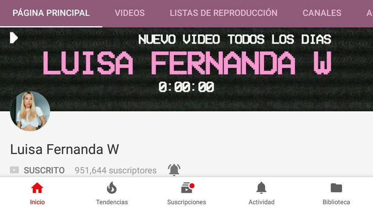 Luisa Fernanda W YouTuber está apunto de llegar al 1'000.000 de seguidores y cuando llegue va a subir el Roast Yourself a si que te invito a que te suscribas https://www.youtube.com/user/yosoyluisac