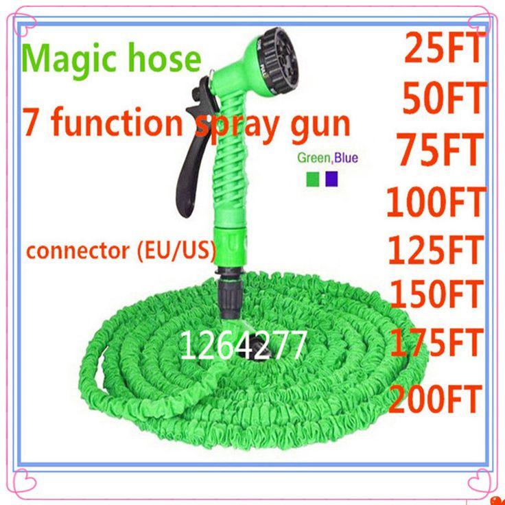 2016New hot sell flexible Expandable Garden Hose reels Magic Garden Water Hose Car watering connector US/EU Blue Green+spray Gun