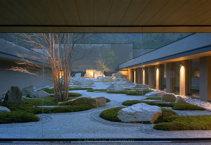 Japanese garden at dusk