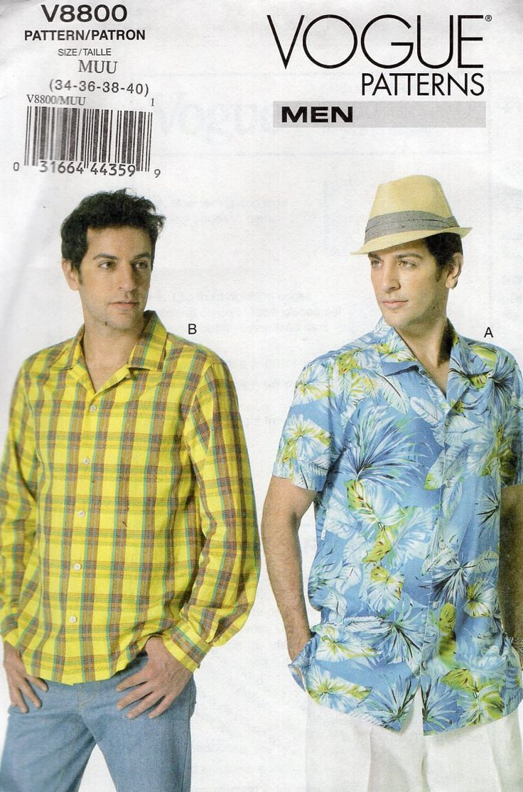 64 best mens sewing patterns images on pinterest boat ship and vogue 8889 mens shirt long short sleeve pleated shoulder free us ship uncut out of print chest size 40 42 44 46 sewing pattern new 2013 jeuxipadfo Images