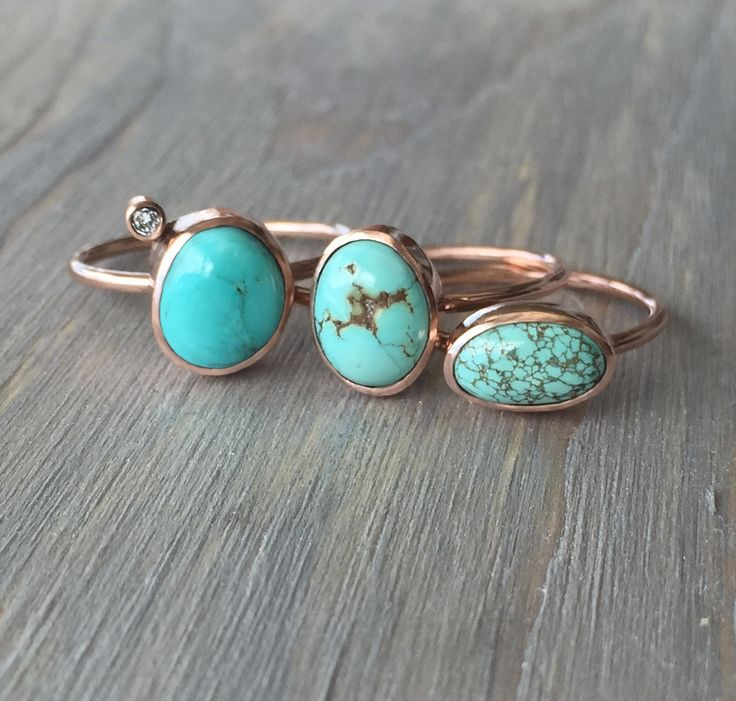 14k Rose Gold and Natural Turquoise Ring with Genuine Diamond.