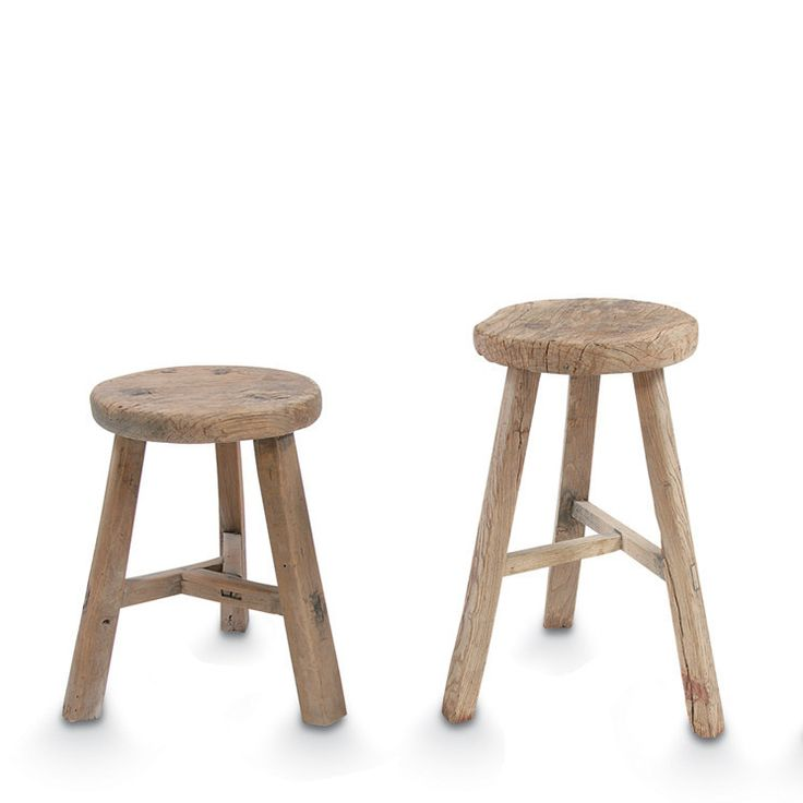 Small blonde elm wood antique round stool by citta design