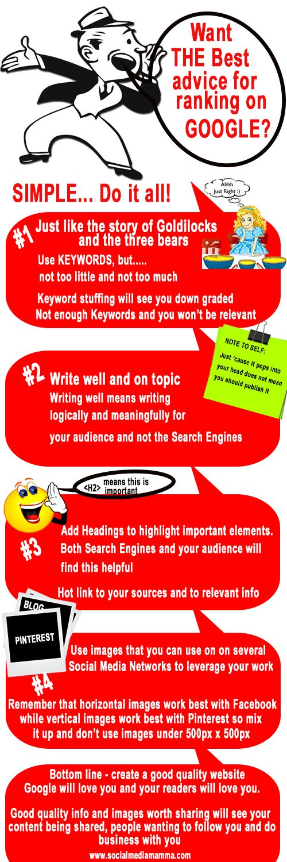 4 easy steps to increase your Google ranking #SEO #infographic  ~ Gaynor Parke ~ #LessStressMoreSuccess www.socialmediamamma.com