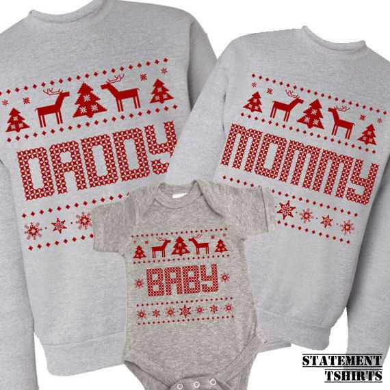 Daddy Mommy and Baby Matching. Unisex Sweaters and Baby Onesie. Ugly Family Sweatshirt. Tacky Christmas Sweater. Baby Shower Present  #Christmas #Christmas2015 #Xmas #Xmas2015 #XmasShopping.