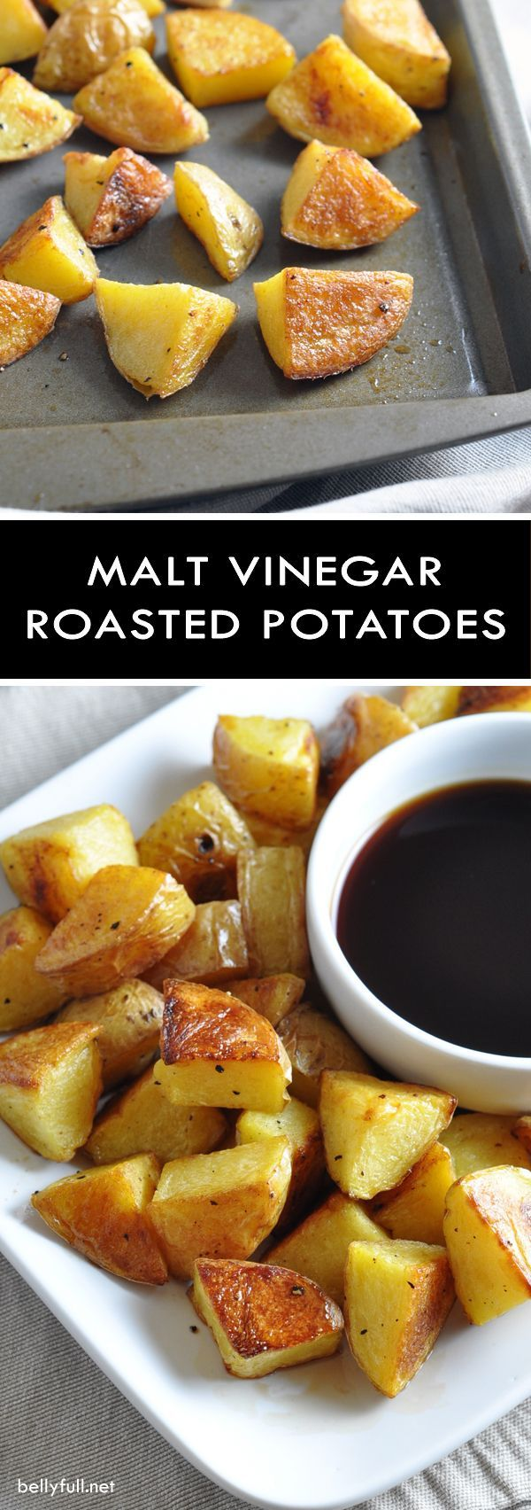 British pub salt and vinegar crisps get an American makeover with cubes of roasted potato and a syrupy malt vinegar sauce!