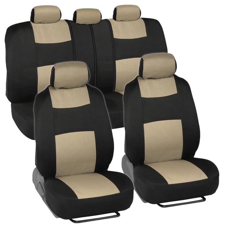 BDK Black/ Beige Mesh Cloth Split Bench Car Seat Covers Full Set