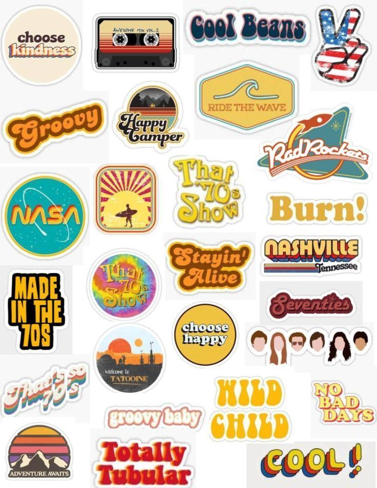 Retro 70's Sticker Pack – # 70s #macbook #Pack #Re … – # 70s #macbook