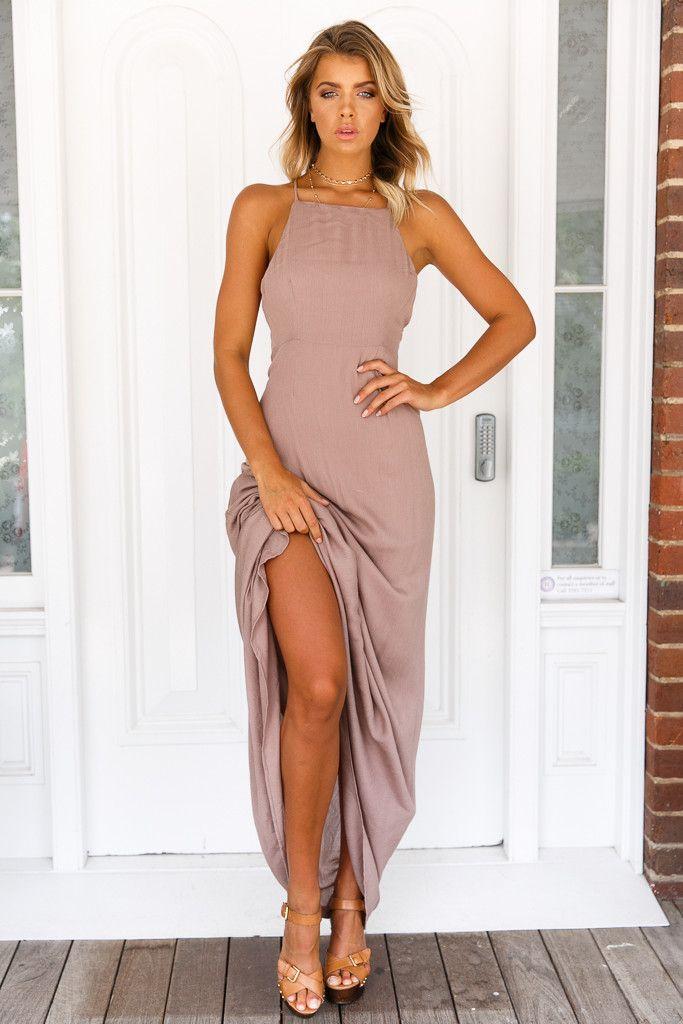 Girl & the Sun - Luna Tie Back Maxi Dress (Brown)