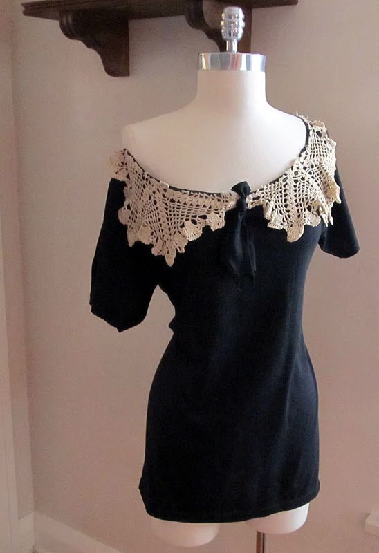 Wobisobi: Project Re-Style #40 Black Tee turned into an off the shoulder, lace, collar shirt
