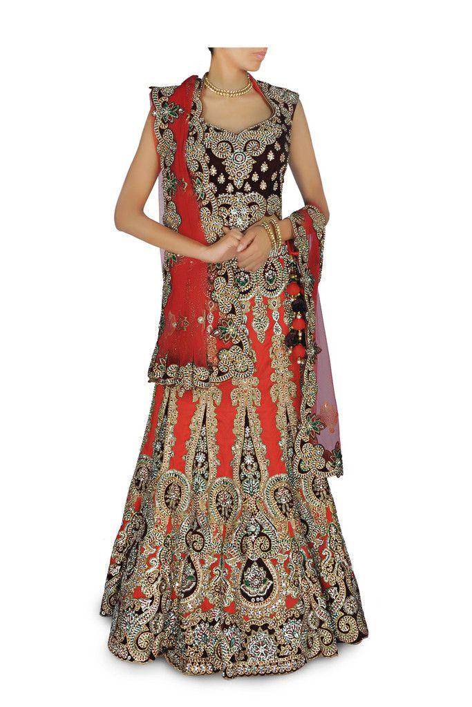 Brick orange color Bridal Lehenga/Chaniya Choli