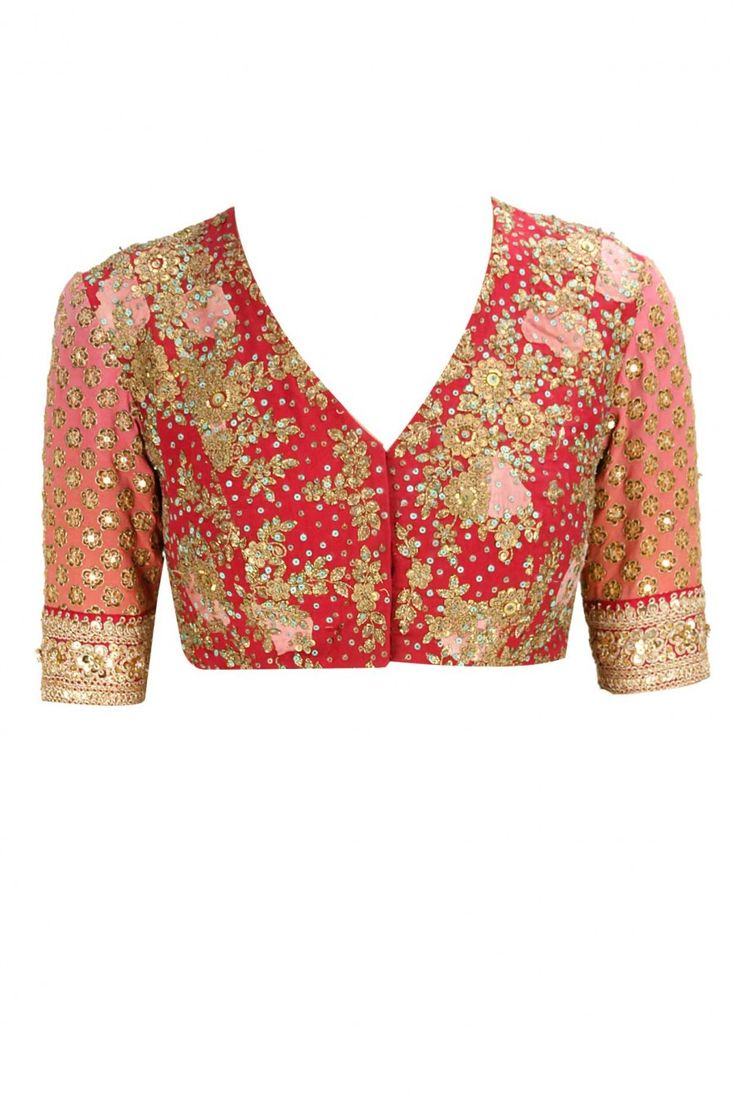Floral printed and embroidered tulle sari with gulmarg flowers blouse available only at Pernia's Pop-Up Shop.
