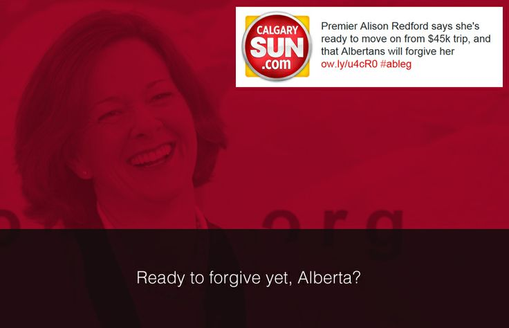 "Albertans can forgive Premier Alison Redford's ""disappointing"" $45,000 trip to South Africa for Nelson Mandela's funeral, the premier reasoned Wednesday. #ableg #Alberta"