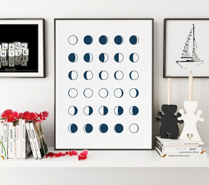 Navy Moon Phases Print, Moon, Moon Art, Moon Print, Moon Wall Decor, Moon Wall Art, Moon Poster, Moon Wall Hanging, Moon Phases, Lunar Phase