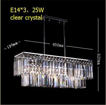 2016 New arrived /luxury crystal pendant lamp/20W led E14 light base kitchen rectangular crystal stainless steel lamp