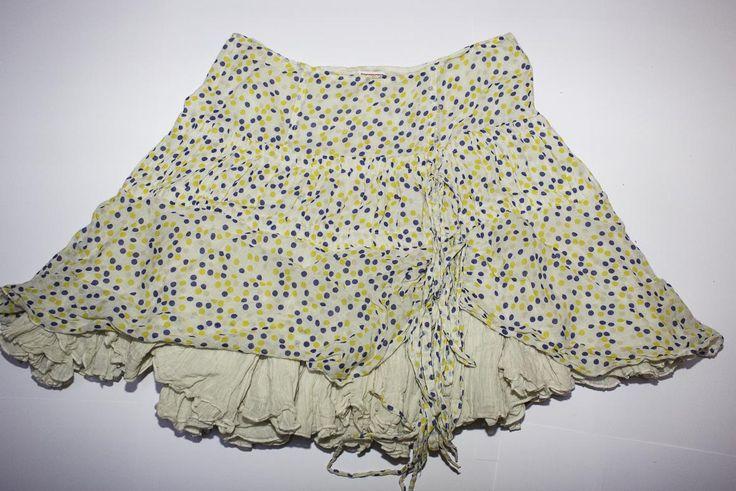 Gonna ampia con sottogonna sfondo bianco con pois blu e gialli di Lindymarket su Etsy