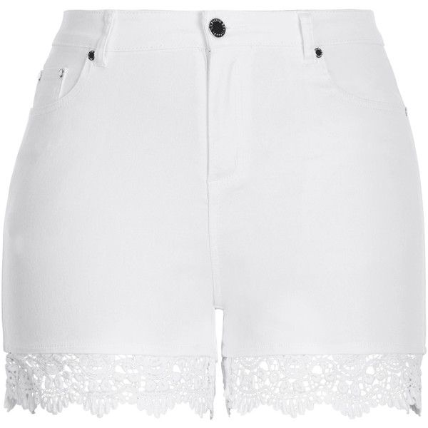 Shop Women's Plus Size Women's Plus Size Short | City Chic USA ($59) ❤ liked on Polyvore featuring shorts, white short shorts, white crochet shorts, plus size shorts, macrame shorts and summer shorts