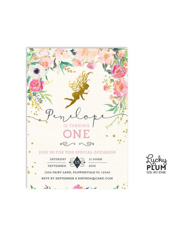 Fairy Birthday Invitation // A gold garden fairy invitation surrounded by a field of wildflower blossoms. And no invite is complete without some fairy dust // by LuckyPlumStudio