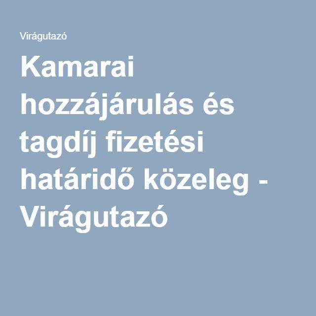 Kamarai hozzájárulás és tagdíj fizetési határidő közeleg - Virágutazó http://viragutazo.hu/kamarai-hozzajarulas/