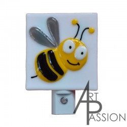 Bee in fused glass night light by Artetpassion on Etsy