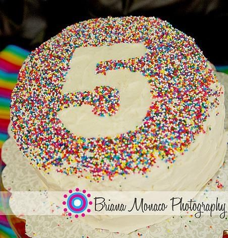 sprinkles birthday cake.  Mitzi like this but a lot pink!!! And the crystallized sprinkles!!