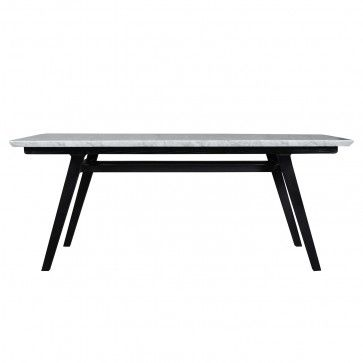 Marble top black oak frame dining table from Clickon