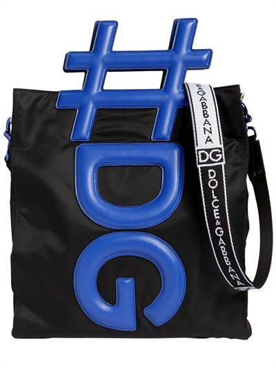 0dd7e17bfcb395 DOLCE & GABBANA, Hashtag handle nylon tote bag, Black/blue, Luisaviaroma