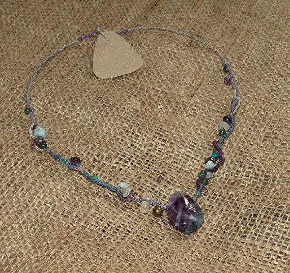 Fluorite Hand Dyed Macrame Crystal Necklace by tinkertailoruk