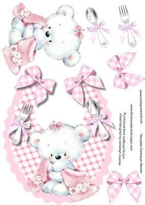 Cute Pink Baby Bib with a lovely Teddy  on Craftsuprint - Add To Basket!