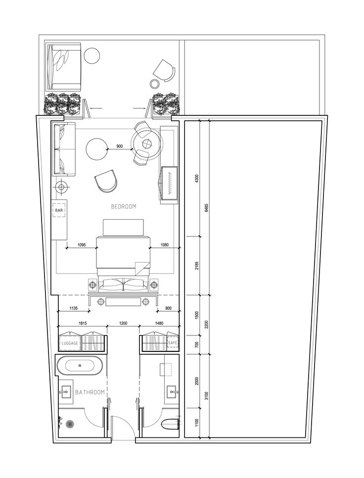This is actually a plan for a hotel room, but it has some excellent design ideas for master suite design...