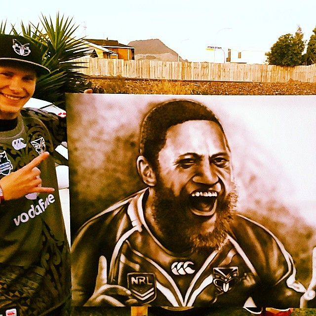 Painting of #TheBeast Manu Vatuvei  Photo: @natecourtney576 #WarriorsForever #Art #ManuVatuvei #Smile #Painting