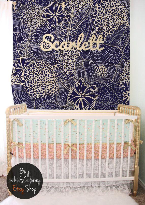Vintage, levendige, kinderkamer behang, marineblauw patroon, herbruikbare, verwisselbare, Self adhesive, Kids behang #34