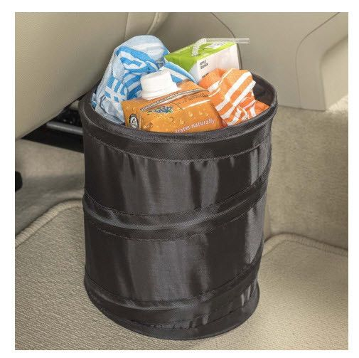 Stop leaks, spills and stains before they happen. Fully leakproof, compact car trash bin hangs from any hook or headrest post or sits on the floor. Textured non-slip base keeps bin in place. Folds fla