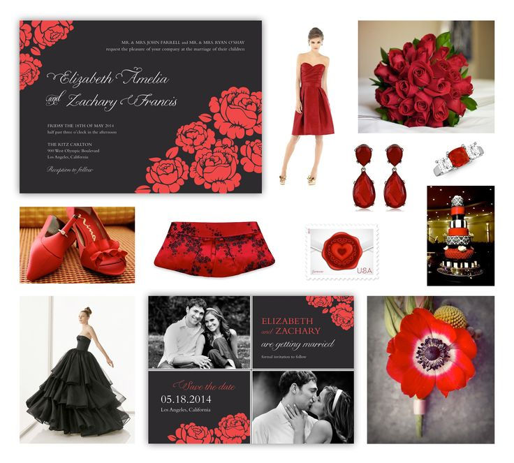 """Black & Red Wedding Theme -- Red Roses Wedding Theme -- Bold Red & Black Wedding Invitation and Black & White & Red Wedding Save the Date Card with Photos designed by Lauren DiColli Hooke for the """"One Sweet Love"""" wedding collection, available for purchase at KleinfeldPaper.com --- Links to the photos of """"Black, Red and White Wedding Ideas"""" can be found in my """"Red Wedding"""" Pinterest board."""
