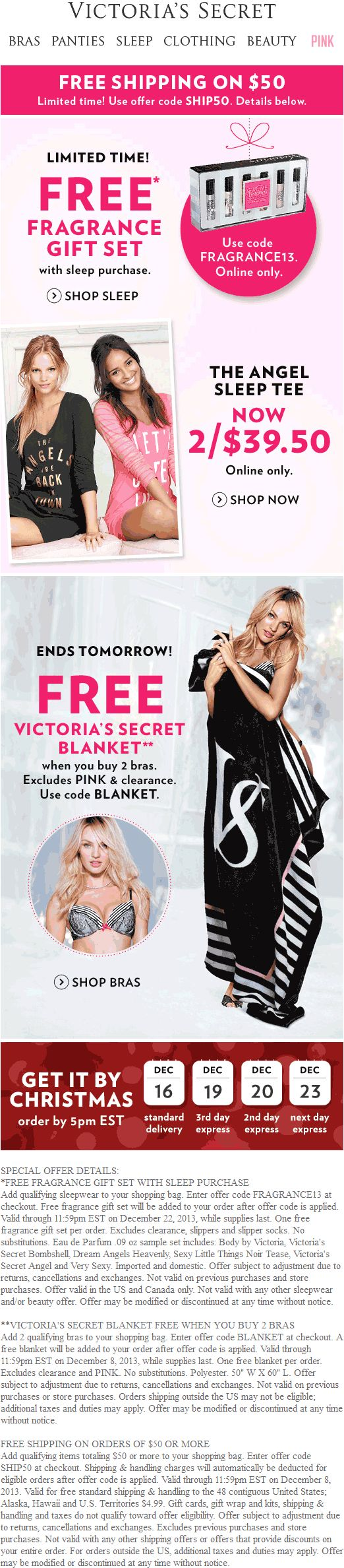 Victorias secret coupon victorias secret promo code from the coupons app free blanket with your bras more at victorias secret or online via promo code