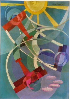 D'Anna.Acrobazie aeree In un bel cielo azzurro, tre aerei, due rossi e uno blu, compiono evoluzioni sotto un grande sole giallo che splende.1929 Bologna