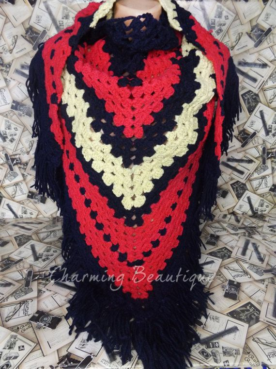 Crochet Large Shawl Crochet Fringe Wrap by CharmingBeautique